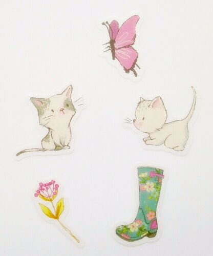 Welly Boots cat cute kawaii delicate washi paper stickers