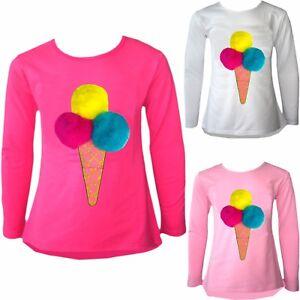 Kids Girls Pom Pom Ice Cream Cone Pink Yellow Blue Scoops T Shirt