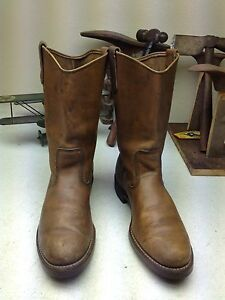 3928d21f571 Details about VINTAGE RED WING DISTRESSED USA BROWN LEATHER ENGINEER OIL  RIG BOOTS 9.5 B