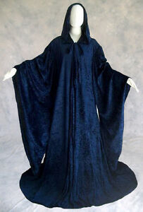 unlined navy blue velvet medieval robe wizard cosplay cloak wicca