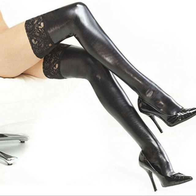 Women's Wide Patent Leather Lace Thigh Length Stockings Black G9C