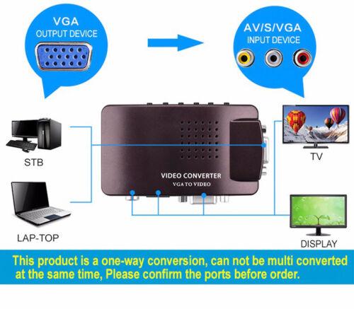 VGA to Video,PC Laptop Notebook to VGA TV AV S-video VIDEO Converter Box Adapter