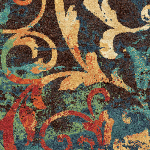 Unique Watercolor Scroll Runner Area Rug Teal Blue Red Orange 2 3 X 8 Carpet Rugs Carpets Area Rugs