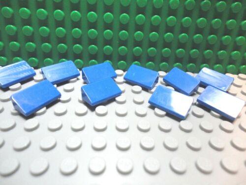 Lego 10 Blue 1x2 Roof Finish Tile 30 degree Slopes NEW
