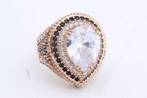 Turkish-Jewelry-Drop-Quartz-Black-Onyx-Topaz-925-Sterling-Silver-Ring-Size-10