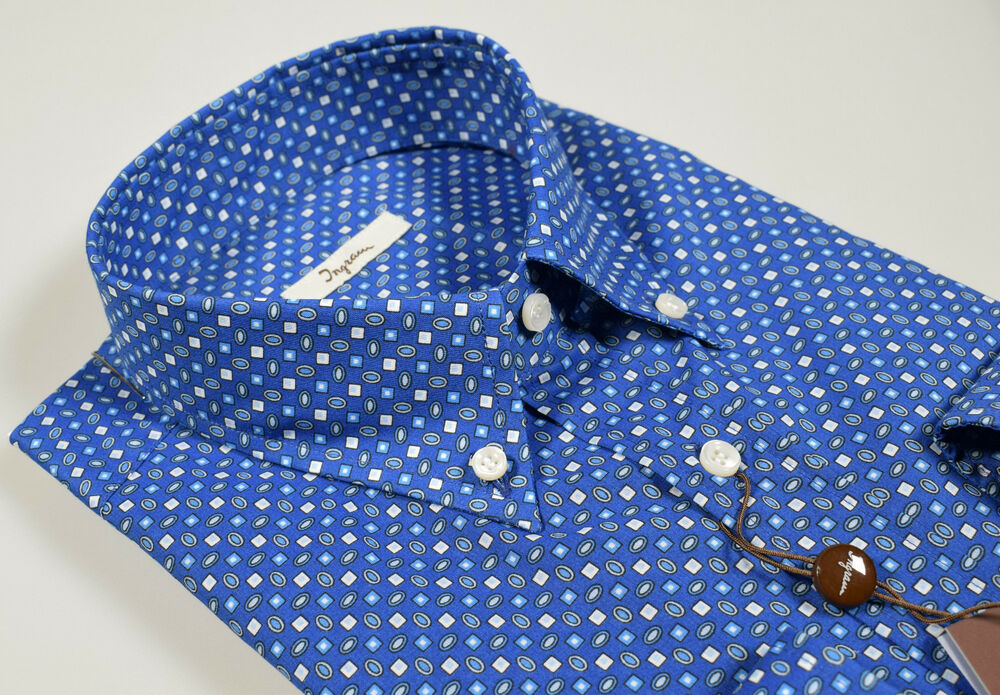 Camicia Ingram Azzurro Scuro In Cotone Stampato Collo Button Down Puro Cotone
