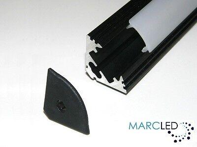 1.5m P1 LED strip light aluminium profile; anodised BLACK end caps diffuser