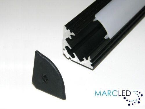 diffuseur embouts 0,5 m p3 Bande LED profil en aluminium léger; anodisé noir