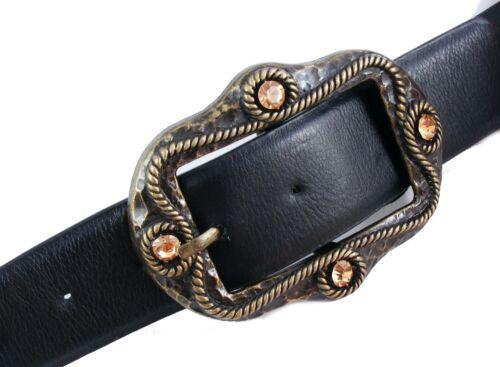 Gothicgürtel Trachtengürtel  Damengürtel schwarz Strass große Schnalle SCH4D