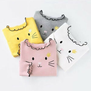 Casual-Kids-Baby-Girls-Clothes-Wave-Collar-Long-Sleeve-Bottoming-T-shirt-Tops