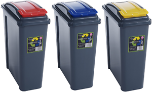 Rouge//Bleu//Jaune WHAM 25 L Slimline Accueil déchets en plastique bac de recyclage ensemble 3 pièces