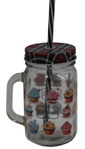 Set-of-6-Mason-Handled-Glass-Tumblers-Dark-Red-Tartan-Mason-Drinking-Jars