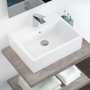 Lavabo appoggio 57x45 lavandino bagno grande capiente in ceramica bianco arredo ebay - Lavabo bagno appoggio ...