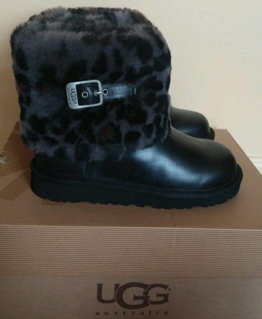 NIB! UGG Australia Kids Ellee Animal Black Sheepskin Boots, Sz 2