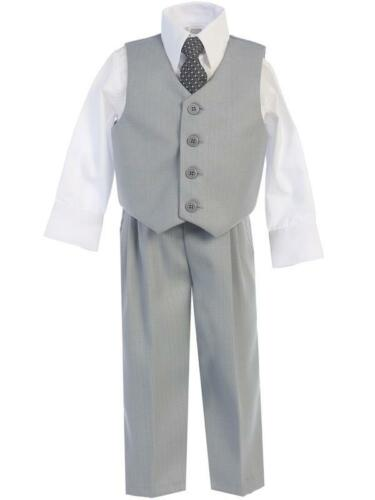 New Navy Blue Boys Vest Suit Outfit 4 Pc Wedding Holidays Baby Toddler Kids