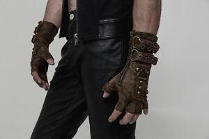 Punk Rave Hommes Steampunk Mitaines militaire gothique rock Motocycle Brown