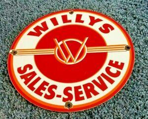 VINTAGE-WILLY-039-S-PORCELAIN-GAS-OIL-JEEP-OVERLAND-SERVICE-DEALERSHIP-SALES-SIGN