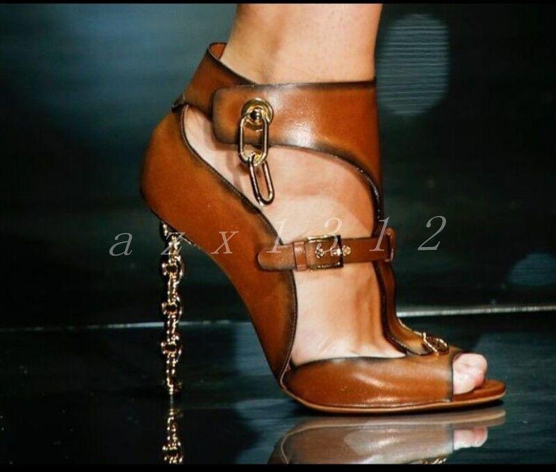 Donna Peep Toe Pelle Buckles Sexy T-straps Metal Decor Boot Sandals Shoes SZ