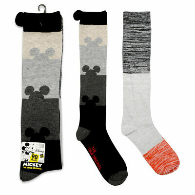 Disney 90 YEARS Mickey Mouse 2 PAIRS Knee High Socks 9-11 Shoe Size 4-10 NEW