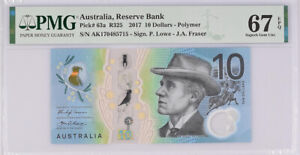 Australia 10 Dollars 2017 P 63 a Superb Gem UNC PMG 67 EPQ New Label