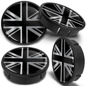 4x FIAT Roue Alliage Moyeu Centre Cap Set Center Caps 60 mm Argent//Noir