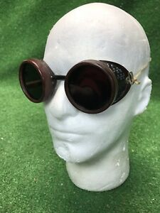 Vtg-Steampunk-Goggles-Duraweld-Vintage-Antique-Motorcycle-goggles-Burning-Man