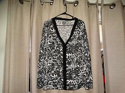 Panties Chico's Chicos 3 Womens Xl 16 Additions Cardigan Sweater Black Gray White