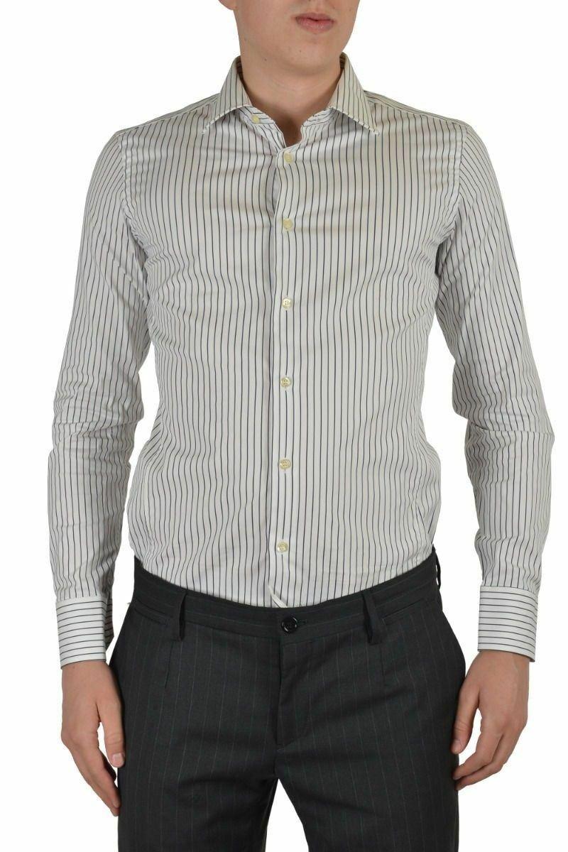 Etro Uomo Multicolore Abito Manica Lunga Camicia USA 15.5 It