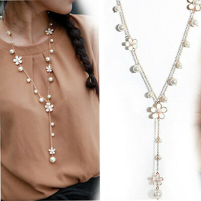 Fashion Women's Pearl Flower Sweater Long Chain Pendant Necklace Jewelry Gift