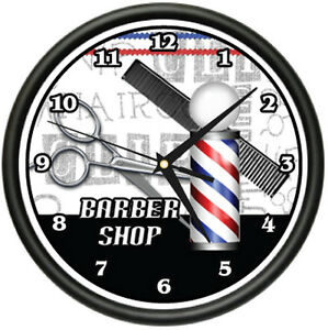 Barber Gifts : BARBER SHOP Wall Clock hair salon cutter pole gift eBay