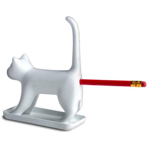 Miauende Bleistiftspitzer Katze in weiß Anspitzer Kätzchen Spitzer miauen