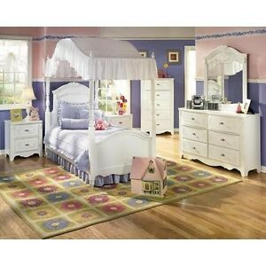 details about girls white canopy bedroom set bed dresser mirror