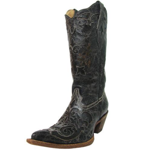 Women/'s Corral Western Boot Black Vintage Lizard Overlay X Toe C2108
