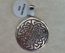 .925 Sterling Silver Round Celtic Knot Pendant Irish