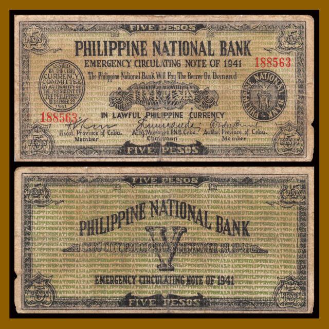 Philippines 5 Pesos, 1941 P-S216 Emergency Notes WW II CEBU Circulated