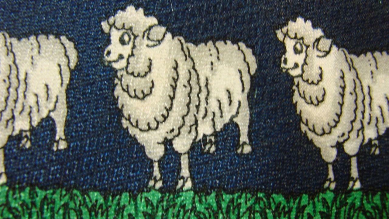 Renaissance Dunkelblau Weiß Schaf Repeat Seidenkrawatte Krawatte MNO3019D #V19