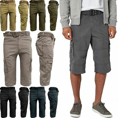 Mens Ex-Store Long Cargo Combat Three Quarter Twill Belted Chino Shorts Cotton