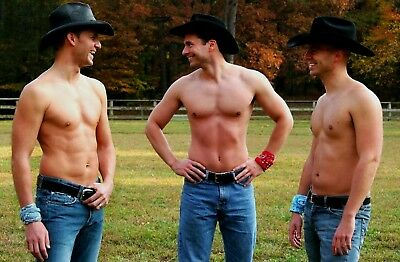 Shirtless Muscular Male Beefcake Hot Southern Cowboy Dude Horse PHOTO 4X6 F461