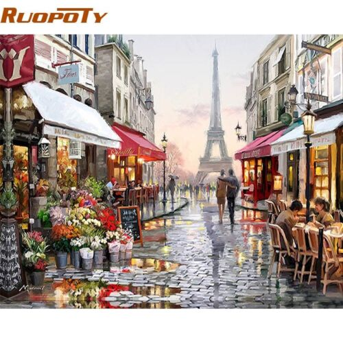 RUOPOTY Paris Street DIY Painting By Numbers Handpainted Canvas Painting Home