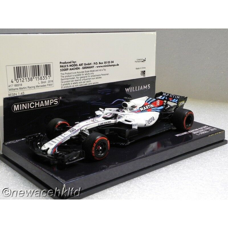 Williams FW41 Mercedes  18 2018 Formula One MINICHAMPS MODELS 1 43  417180018