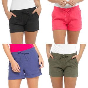 womens ladies linen shorts hot pants summer casual holiday