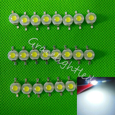100pcs x 1W 1watt High power LED Bead Lamp Chip Cool White 6000-6500K 100-110Lm