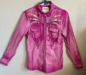 Roar-Women-s-Size-M-Western-Shirt-Button-Snap-Up-Signature-Distressed-Crystals