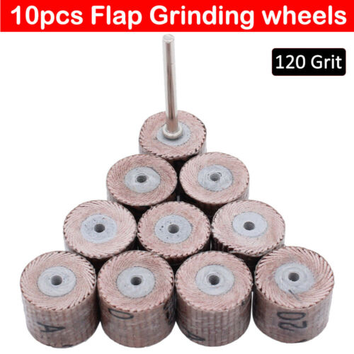 10Pcs Flap Wheel Sandpaper Sanding Disc For Dremel Rotary Tool 120 Grit UK