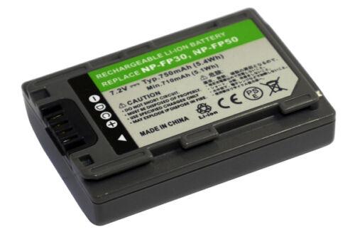 Grey batería 750mah para Sony dcr-30 hdr-hc3 hdr-hc3e np-fp30 np-fp50