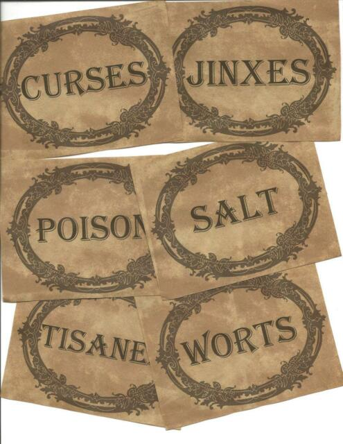 12 Vintage LABELS~Halloween~primitive labels~Halloween Vintage Apothecary! VI