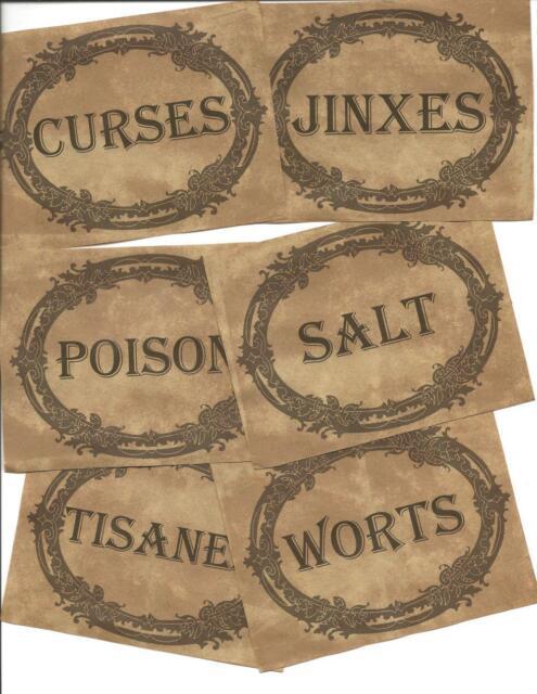 12 Vintage LABELS~Halloween~primitive labels~Halloween Vintage Apothecary! VI