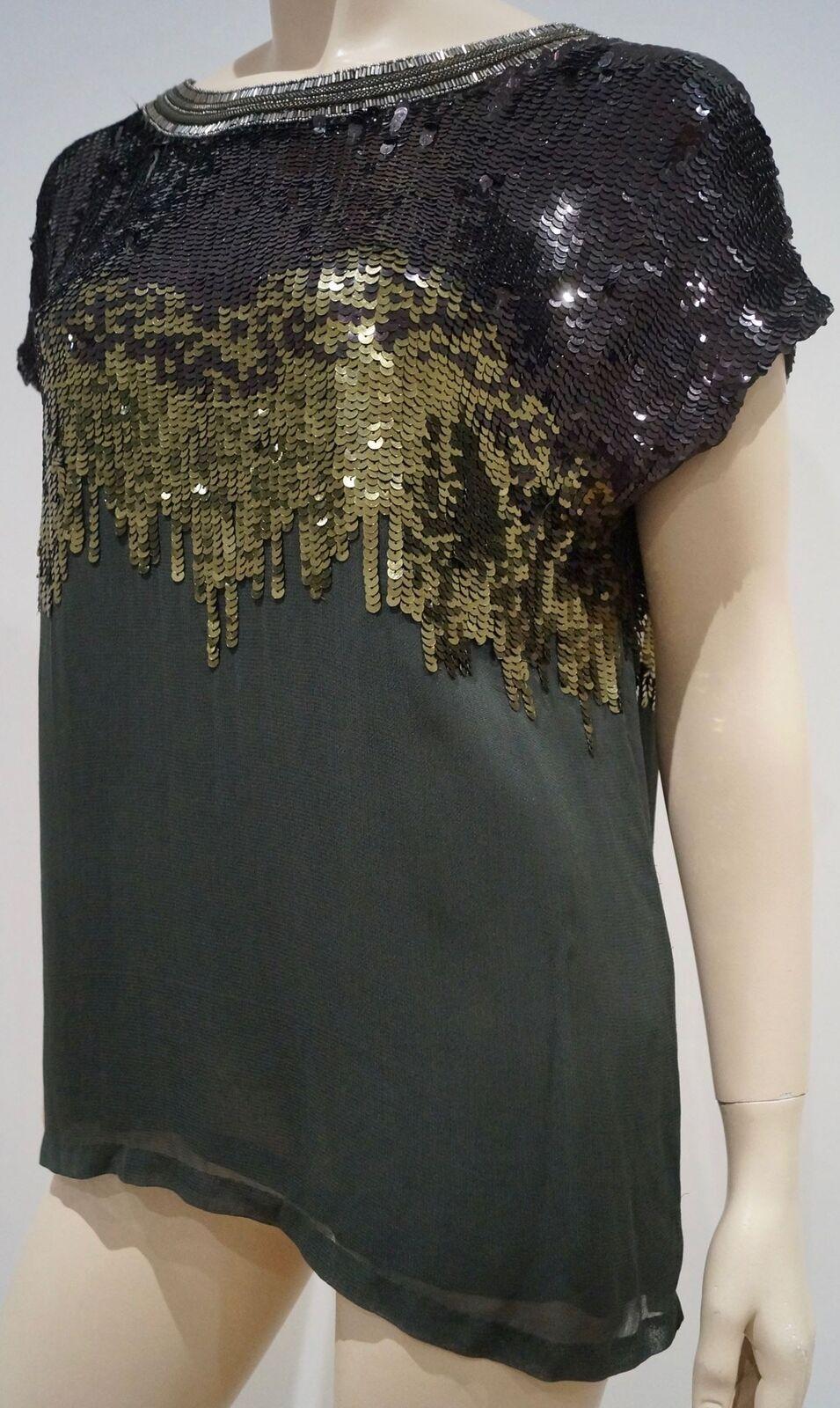 MATTHEW WILLIAMSON schwarz Olive Grün Ombre Sequin Embellished Blouse Top GB6