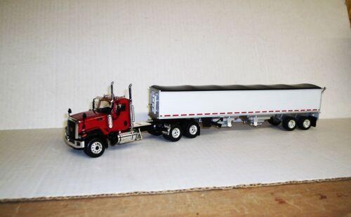 w// Semi Grain Trailer Trailer 1//50 CT680 Cat Truck White Red Daycab