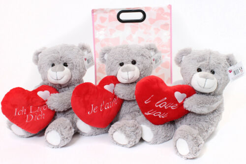 """16/"""" LARGE GREY TEDDY BEAR IN GIFT BAG MOTHERS DAY  I LOVE YOU PLUSH TOY PRESENT"""